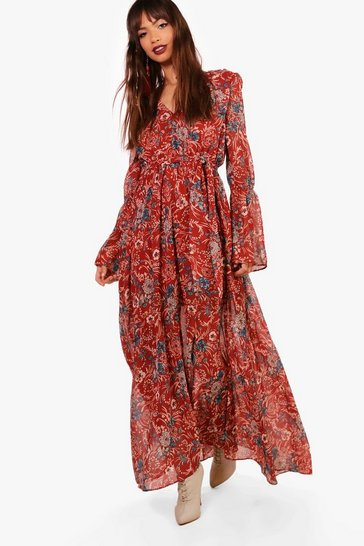 Rust orange Gabriella Bohemian Tie Detail Maxi Dress