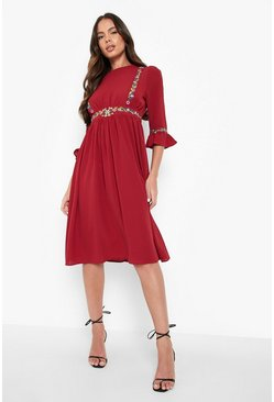 Berry red Embroidered Ruffle Sleeve Midi Dress