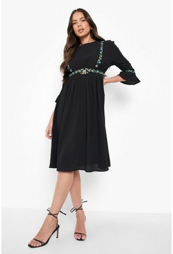 Black Embroidered Ruffle Sleeve Midi Dress