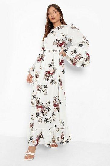 Ivory white Ruffle Hem and Sleeve Maxi Dress