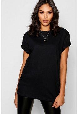 Basic Oversized Boyfriend T-shirt, Black nero
