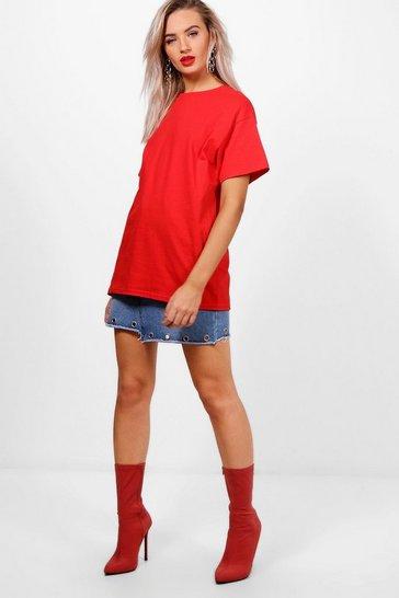 Red Basic Oversized Boyfriend T-Shirt