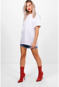 Basic Oversized Boyfriend T-shirt, White bianco