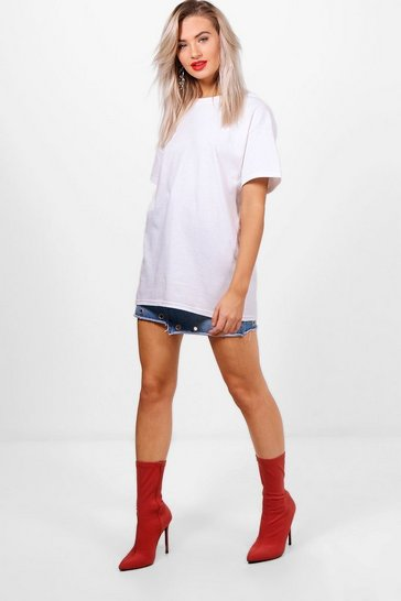 White Basic Oversized Boyfriend T-shirt