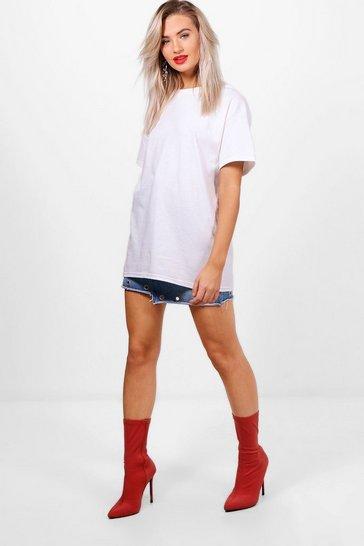 White Basic Oversized Boyfriend T-Shirt