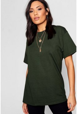 Bottle green green Basic Oversized Boyfriend T-shirt