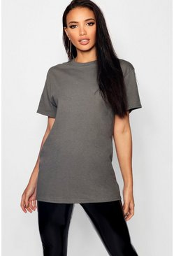 Charcoal grey Basic Oversized Boyfriend T-shirt