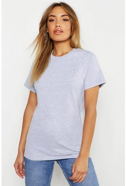 Grey marl grey Basic Oversized Boyfriend T-shirt