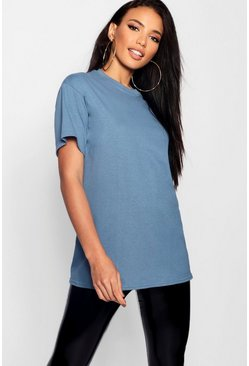 Indigo blue Basic Oversized Boyfriend T-shirt