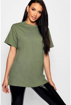 Bottle green khaki Basic Oversized Boyfriend T-shirt