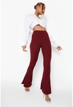Berry red High Waist Basic Ribbed Skinny Flares