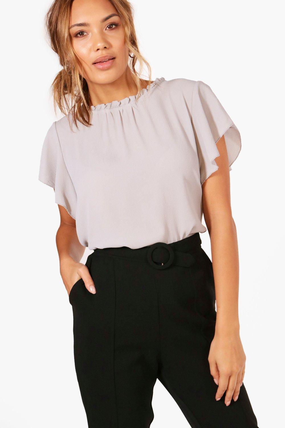 TOPS Grey Woven Frill Sleeve And Neck Blouse