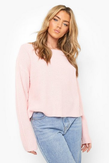 Baby pink pink Off The Shoulder Slouchy Jumper