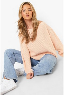 Blush pink Off The Shoulder Slouchy Jumper
