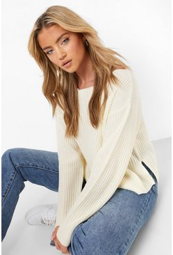 Cream Off The Shoulder Slouchy Jumper