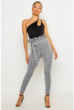 Charcoal grey Check Paperbag Tie Waist Pants