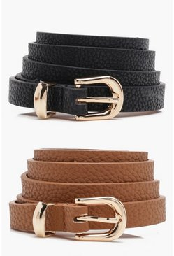 Tan brown Skinny Belts 2 Pack