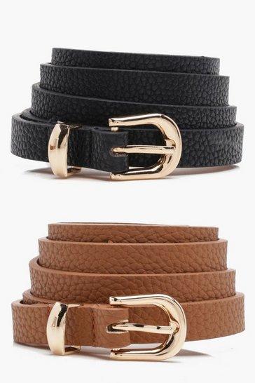 Tan brown Basic Skinny Belts 2 Pack
