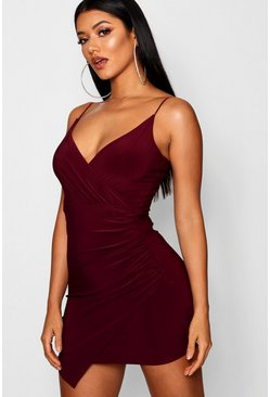 Berry red Wrap Detail Bodycon Dress