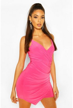 Hot pink pink Wrap Detail Bodycon Dress