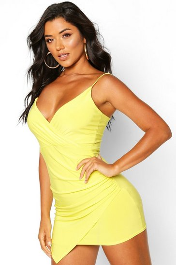 Lime green Wrap Detail Bodycon Dress