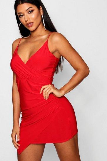 Red Wrap Detail Bodycon Dress