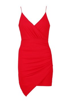 Red Wrap Detail Bodycon Dress