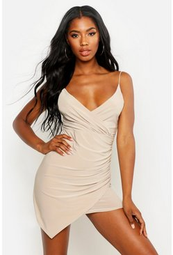 Stone beige Wrap Detail Bodycon Dress