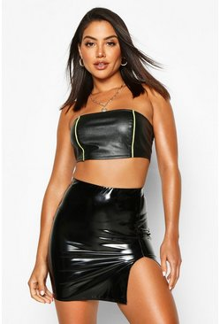 Black Thigh Split Vinyl Mini Skirt