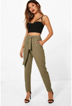 Khaki Tie Waist Woven Crepe Slim Fit Trousers