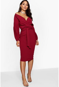 Off the Shoulder Wrap Midi Dress, Berry rosso