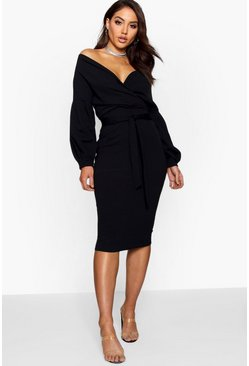 Black Off the Shoulder Wrap Midi Dress