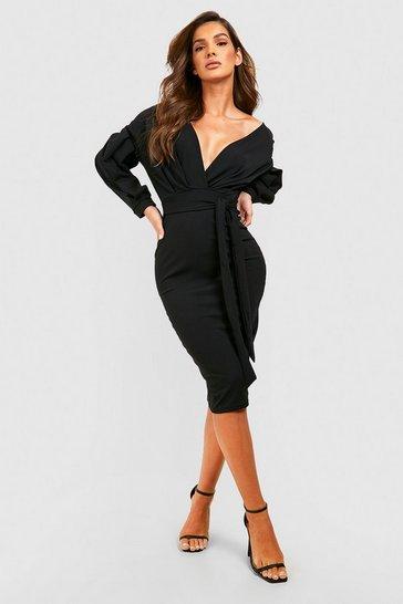 Black Off the Shoulder Wrap Midi Dress