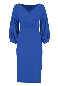 Cobalt Off the Shoulder Wrap Midi Dress