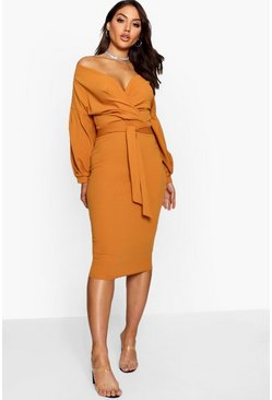 Desert sand orange Off the Shoulder Wrap Midi Dress