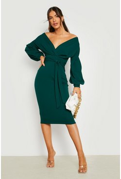 Emerald green Off the Shoulder Wrap Midi Dress