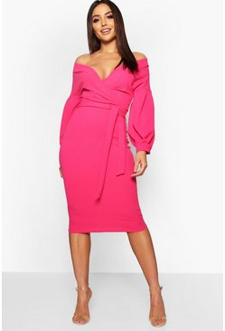 Hot pink pink Off the Shoulder Wrap Midi Dress