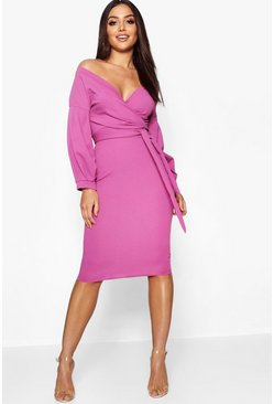Jewel purple purple Off the Shoulder Wrap Midi Dress