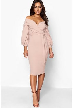 Stone beige Off the Shoulder Wrap Midi Dress