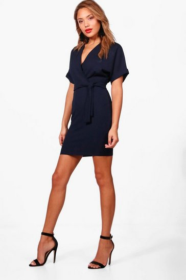 Navy Wrap Over Belted Dress