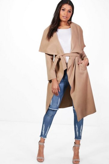 Camel beige Belted Waterfall Coat