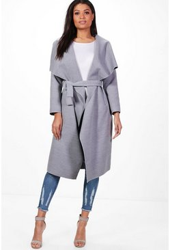 Grey Belted Waterfall Coat
