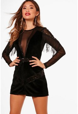 Black Velvet Tassel Trim Playsuit
