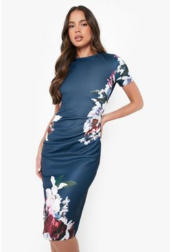 Navy Floral Pleat Detail Midi Dress