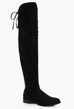 Black Flat Over the Knee Boots