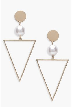 Gold Pearl And Triangle Geo Earrings