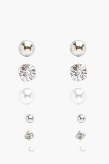 Silver Diamante And Pearl Stud 6 Pack
