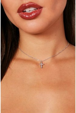 Silver Diamante Cross Chain Choker
