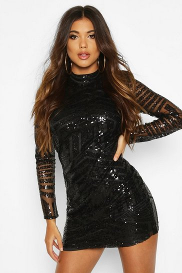 Black Boutique  Sequin and Mesh Bodycon Dress