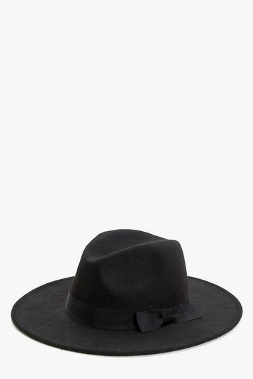 Black Ribbon Trim Fedora